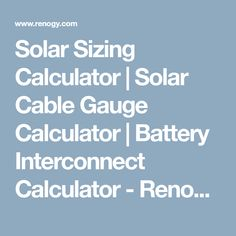 Renogy cable entry housing renogy pinterest cable and house solar sizing calculator solar cable gauge calculator battery interconnect calculator renogy solar greentooth Gallery