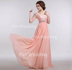 Modest Prom Dresses Sleeves Prom Dress Peach Prom by FoxWedding, $139.00
