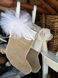 Will have to try serging the edges. Holiday Time, Holiday Ideas, Christmas Ideas, Christmas Crafts, Merry Christmas, Holiday Decor, Burlap Stockings, Xmas Stockings, Burlap Crafts
