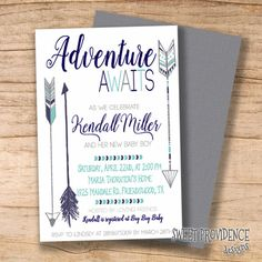 Adventure shower invitation/ Adventure Awaits by SweetProvidence