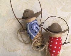 Cowboy recycled cork ornament