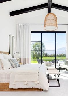 Serene master bedroom with wall of window. Inside a Modern Family Home in La Qui. Serene master bedroom with wall of window. Inside a Modern Family Home in La Quinta, California Home Decor Bedroom, Farmhouse Master Bedroom, Beautiful Bedrooms, Bedroom Interior, Home, Bedroom Inspirations, Home Bedroom, Modern Bedroom, Home Decor