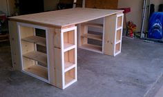DIY craft table. This is almost exactly what mine is going to look like! Only three sides of big cubicles. i'm so excited