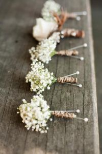 Rustic Wedding ideas - Baby's breath Boutonnieres