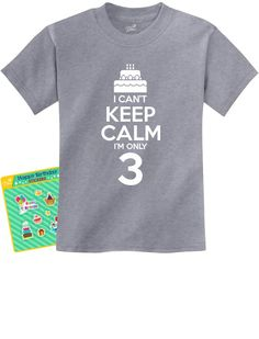 Birthday Cake - I Can't Keep Calm I'm Only 3 Children's Cute Kids T-Shirt 4T Gray. Exclusive TeeStars BIRTHDAY stickers included only when you buy from Teestars! Great gift for a 3 year old boy / girl. Funny three years old tee. Adorable third Birthday party gift for son, daughter, Grandson or Granddaughter. SUPER FAST SHIPPING! 100% MONEY BACK GUARANTEE. OUTSTANDING FABRIC QUALITY! Official Teestars Merchandise. 100% combed-cotton classic crew neckline short sleeve t-shirt For sizing…