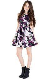 Miss Behave 'Amber' Sleeveless Floral Print Side Cutout Dress (Big Girls)