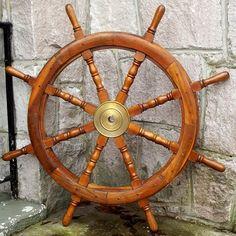 LARGE ORIGINAL Wooden Ship Wheel Solid Brass by JuneBugCottage, $215.00