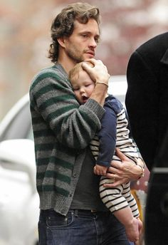 Hugh with son Cyrus in NYC. Great father son shot. (Claire was there, but not shown in this photo.)