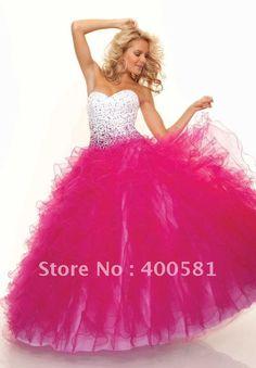 Exotic-Sweetheart-Sequins-Bodice-Ruffled-Skirt-Black-White-Fuchsia-Tulle-Corset-Ball-Gown-Prom-Dresses.jpg (600×862)
