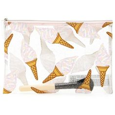 Forever21 Glitter Ice Cream Makeup Bag ($6.90) ❤ liked on Polyvore featuring beauty products, beauty accessories, bags & cases, forever 21, wash bag, make up purse, forever 21 makeup bag and make up bag