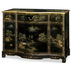A scenery with mountains and rivers are painted in detail all over this cabinet. Shop China Furniture Online to experience our award winning customer service. Asian Furniture, Chinese Furniture, Oriental Furniture, Antique Furniture, Painted Furniture, Oriental Bedroom, Motif Oriental, Outside Furniture, Console Cabinet