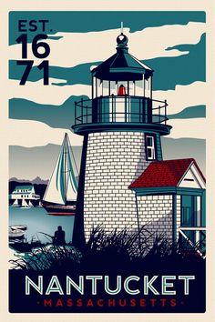 Nantucket Massachusetts Light House Retro Vintage nautical Screen Print poster Cape Cod - etsy on Etsy, $27.99