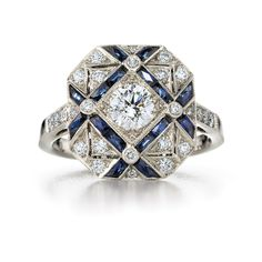 Sapphire and diamond trellis ring from the Kwiat Vintage Collection in 18K white gold. Style No. 28040S