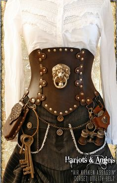 brown Steampunk Corset Brass Lion All Sizes by Harlotsandangels