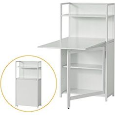 SoBuy® White Home Office 4 Tiers Bookcase Storage Shelves with Folding Writing Reading Laptop Desk Table - Garden Rattan Furniture Folding Furniture, Folding Walls, Space Saving Furniture, Diy Furniture, Bookcase Storage, Table Storage, Dining Table In Kitchen, Table Desk, White Houses