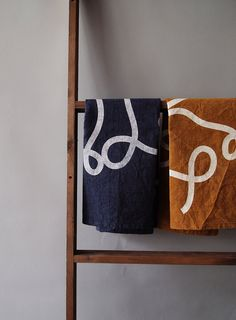 Made to order  Navy Blue Scribble tea towel by knifeinthewater