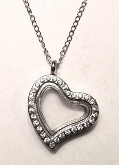 Silver Heart Charm Locket Necklace