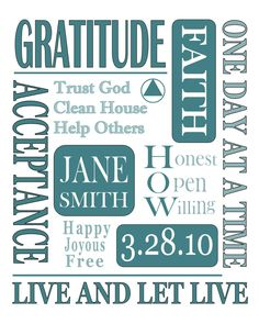 Items similar to AA Recovery Gifts / TEAL/ Alanon Sponsor Sponsee Anniversary NA Anniversary / Personalized Print Al-Anon Gifts Custom Subway Art 8x10 Print ...