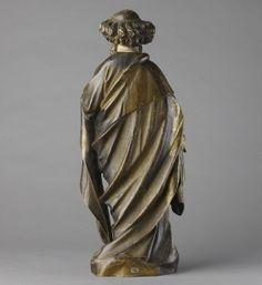 Saint-Pierre. Claus de Werve (c. 1380-1439) ou de son cercle.   Abbaye de Theuley, Franche-Comté .  c. 1410-1420.  49 x 19,5 x 12,5 cm; noyer, polychromie originale et dorure à la feuille