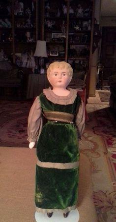 Antique German tin head doll, Minerva