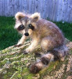 Needle Felted Raccoon Poseable by ClaudiaMarieFelt on Etsy, $120.00