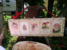 Vintage Shabby Cottage Charm Metal Tin With Old Christmas Cards Wall Hanging *Victorian Home* by thebedpost02 on Etsy