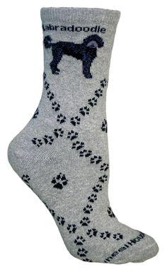 Labradoodle Dog Gray Cotton Ladies Socks - Sunset Key Chains
