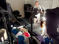 www.psavideo.com production activity - Steve setting up a table top shot in the studio.