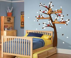 Shelving Tree Decal with Birds - contemporary - decals - new york - Wall Definition