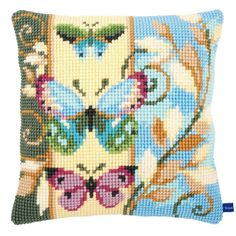 Chunky Cross Stitch Cushion Front Kit 40x40cm 4.5hpi canvas - Deco Butterflies