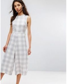 Relaxed Jumpsuit With Tie Waist In Large Gingham