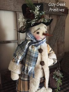 PRIMITIVE HANDMADE SNOWMAN|Folk Art Snowman|Handmade Snowman|Sledding Snowman|Homespun Snowman|Snowman Doll|Winter|Christmas|Holiday|Sled Vintage Sledding Snowman Snowman was created to have that old-timey vintage look that we all love! He stands on a wood base that was painted