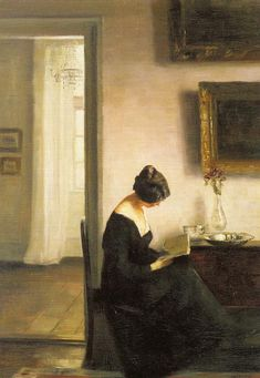 "Woman Reading in an Interior. Carl Vilhelm Holsoe (Danish, 1863-1935). Oil on canvas.  Holsoe's interior paintings are very similar to those of Vilhelm Hammershøi. Holsøe, Hammershøi and Peter Ilsted were the leading artists of the early 20th century in Denmark. They were all members of the progressive art society ""The Free Exhibition"" and their work was referred to as ""The Copenhagen Interior School."" Their paintings have the same subtle colours and the same serenit"