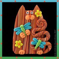 Orange Tabby Kitty Cat Dragonflies & Flower Pin