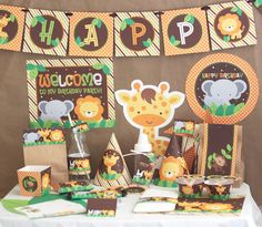 Jungle Safari Birthday Party Decorations - Jungle Animals Birthday - Printable DIY Party Kit - Instant Download - Jungle Party by stockberrystudio on Etsy https://www.etsy.com/listing/103698110/jungle-safari-birthday-party-decorations