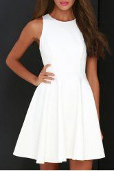 Fashionable 3/4 Sleeve Scoop Neck Lace Splicing Dress For Women (WHITE,XL) | Sammydress.com Mobile