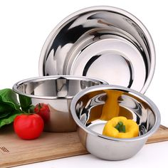 1PC High quality Thickening Stainless Steel Vegetable Fruits Pot Washing Fruit Bowl Kitchen Tools Storage Pot Basin