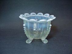 Northwood Glass Klondyke Pattern 3-Footed Bowl in French Opalescent -- NICE!