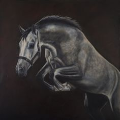 SKY HIGH oil painting by Leonie Sutton equine artist