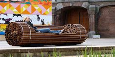 Indoor or outdoor diy couch, made of bamboo or pvc pipes. Sounds like a great idea for the garden!