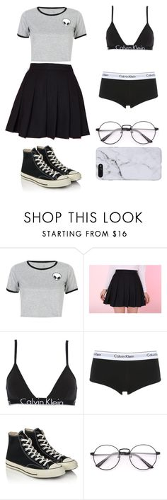 """""""Black and white aesthetic"""" by dangerousmistake ❤ liked on Polyvore featuring WithChic, Calvin Klein Underwear, Converse, blackandwhite and aesthetic"""