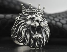 Details about  /Men/'s Lion/'s Head Ring Sterling Silver Large
