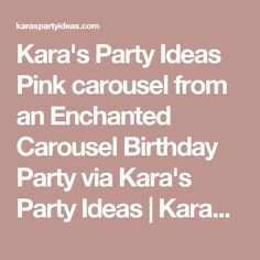 Kara's Party Ideas Pink carousel from an Enchanted Carousel Birthday Party via Kara's Party Ideas | KarasPartyIdeas.com (9) | Kara's Party Ideas