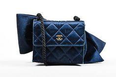 VINTAGE Chanel Navy Blue Satin Quilted Rope Strap Bow Flap Shoulder Bag