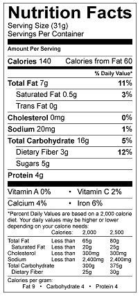 Hemp & Cashew Cookies Nutrition Info