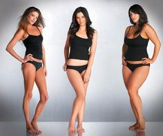 left to right: size 8, 12, 14 - gorgeous women no matter a size.