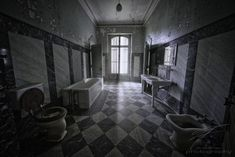 """For a """"quiet and private space"""" this bathroom is quite big. One had to lock three doors first to read a newspaper in peace on the ceramic chair. Urban Exploration, Indoor, Bathroom, Photography, Interior, Washroom, Photograph, Bath Room, Photography Business"""
