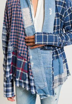 Greg Lauren Plaid and Vintage Denim Stripe Studio Kimono