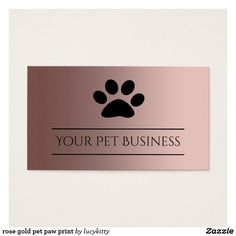 Rose Gold Pet Paw Print Business Card Created By Lucykitty
