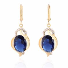 Yazilind Schmuck Charming Glatte 18K Gold ¨¹berzogen Inlay Gl?nzende Oval Sea Blue Crystal baumeln Ohrringe f¨¹r Frauen:…